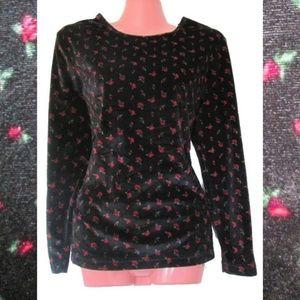 1990 vintage black velvet floral grunge top medium